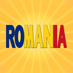 Romania flag text with sunburst illustration