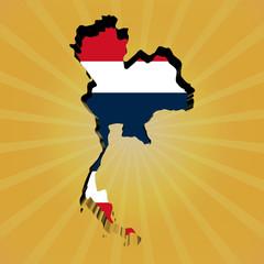 Thailand sunburst map with flag illustration