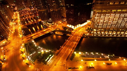 Chicago River / Downtown from Above - Time Lapse