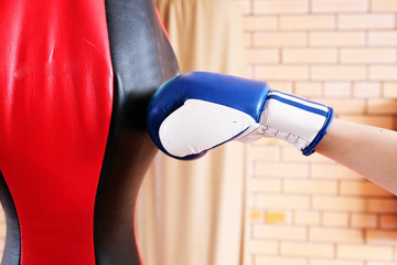 Boxing glove punch a punching bag exercises