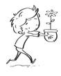 Obrazy na płótnie, fototapety, zdjęcia, fotoobrazy drukowane : niño con una flor en maceta