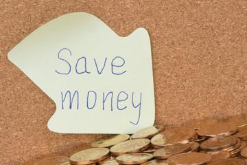 Save money written on sticky note