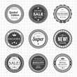 Set of vintage black and white labels. Templates icons