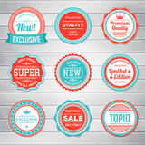 Fototapety Set of vintage blue and red labels. Templates icons