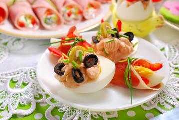 eggs with tuna spread and olives for easter breakfast