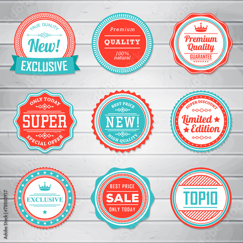 Set of vintage blue and red labels. Templates icons - 78860957