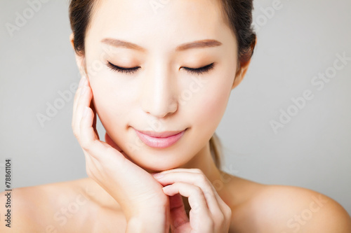 canvas print picture closeup smiling young  beautiful asian woman face