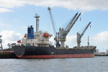 cargo tanker in port