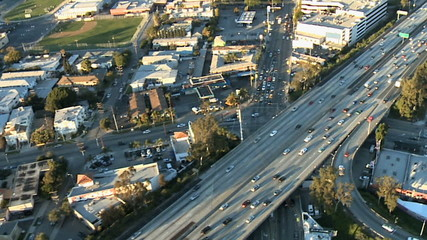 Aerial View of Los Angeles Freeway / Highway / Suburbs - Clip 6