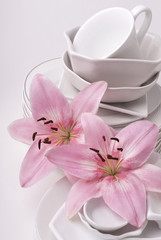Dishware and lilies