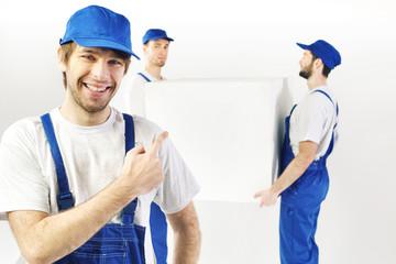 Three satisfied builders during the break