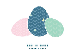 Vector blloming vines stripes three matching Easter egg