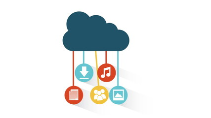 Cloud with icons, Video animation, HD 1080
