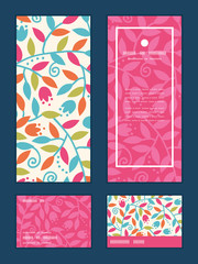 Vector colorful branches vertical frame pattern invitation