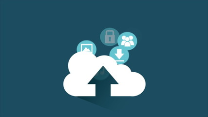 Upload Cloud with icons, Video animation, HD 1080