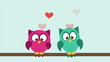 Owl couple in love, Video Animation. HD 1080