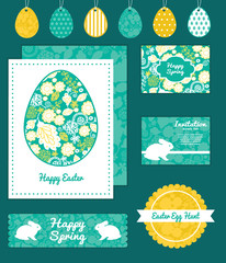 Vector emerald flowerals set of Easter cards, labels, tags and