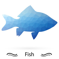 Fish with triangles of different colors. Vector.
