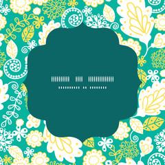 Vector emerald flowerals circle frame seamless pattern
