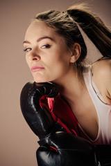 Seductive woman training. Boxing.