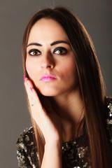 Portrait pensive brunette girl long hair
