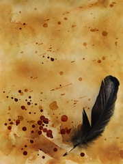 Old paper background with bloody drops and quill