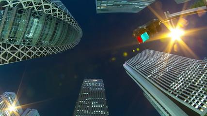 Shinjuku buildings Fish eye Time lapse