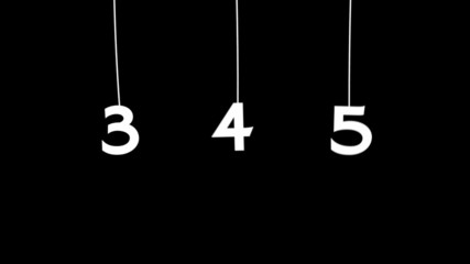 Falling numbers. Numbers animation. Digits on a string.