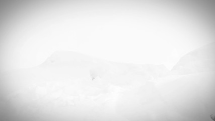 Black and white: Young female with beagle dog run in deep snow