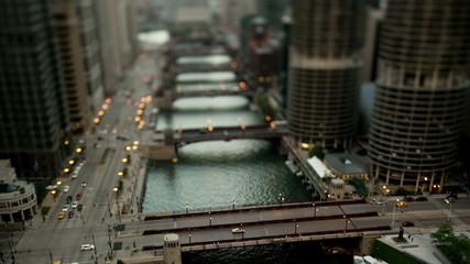 Downtown Chicago River - Tilt Shift