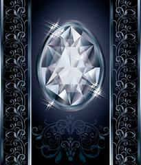 Diamond Easter egg cover design, vector illustration