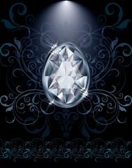 Diamond Easter egg greeting card, vector illustration