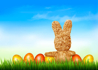 Holiday Easter background with straw rabbit and easter eggs. Vec