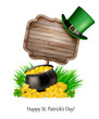 Saint Patrick's Day background with a sign, clover leaves, green