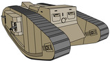 Mark-IV Female, old British rhomboid tank (WW1)