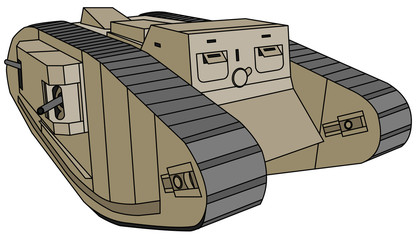 Mark-IV Female, old British rhomboid tank (WW1)