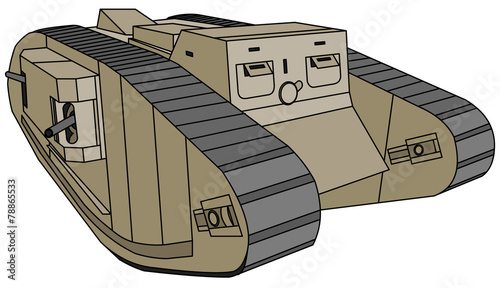 Mark-IV Female, old British rhomboid tank (WW1) - 78865533