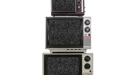 Three Vintage Televisions with Zoom into Static