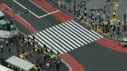 Time Lapse of Busy Pedestrian Street Crossing From Above  - Shibuya, Tokyo Japan