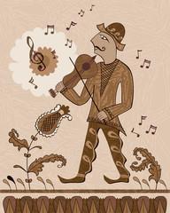 Fiddler. A man plays the violin.