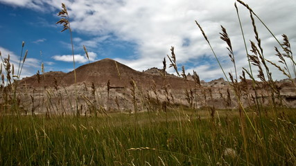Time Lapse Pan of Scenic Meadow - Badlands National Park