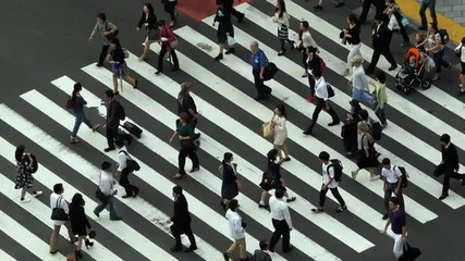 Busy Pedestrian Crossing From Above  - Shibuya, Tokyo Japan
