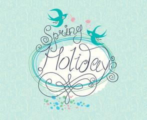 Spring Holidays. Beautiful vintage card.
