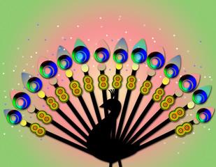 Multicolored peacock
