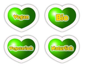Vegan, Vegetarisch, Natürlich, Bio / Icons Sticker