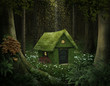 Leinwanddruck Bild - Fantasy house of moss