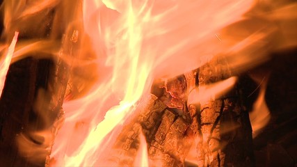 Slow Motion of Burning Camp Fire
