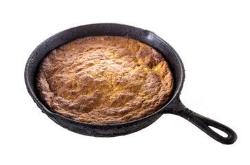 Corn Bread in Cast-Iron Pan Isolated on White
