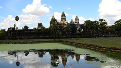 Main Temple in the Morning with Lake Reflection - Angkor Wat, Cambodia