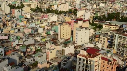 Time Lapse of Shadows sweeping Across Rooftops in Ho Chi Minh City Vietnam